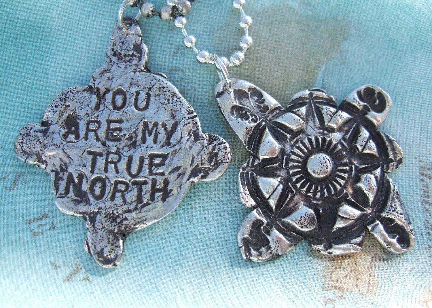 Silver Compass Necklace, You Are My True North, in Eco Friendly Reclaimed Fine Silver And Sterling Silver, His and Hers Pair Gift Set