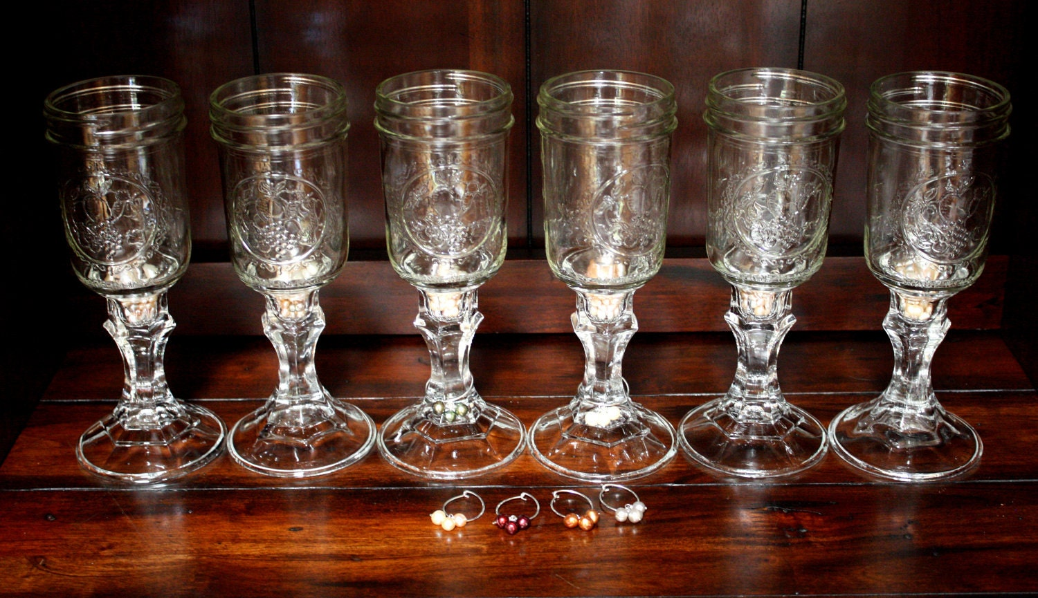 Items similar to six mason jar wine glasses with fresh water pearl wine charms on etsy - Mason jar goblets ...