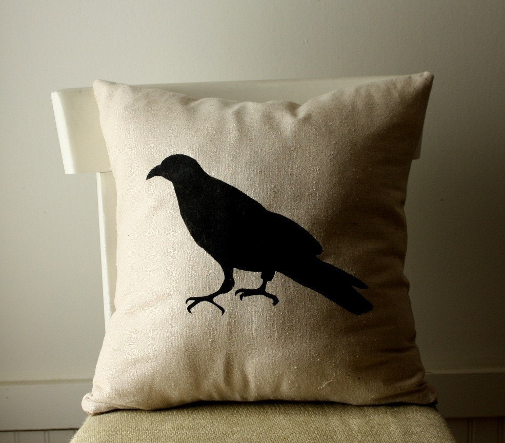 raven silhouette pillow cover