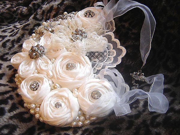rolled rose STATEMENT necklace AN IVORY by hairbowswonderworld from etsy.com