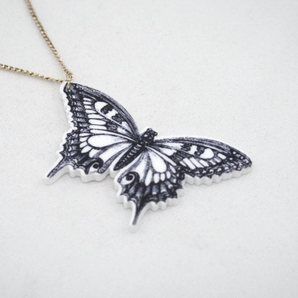 Black White Butterfly Illustration Acrylic Pendant Necklace - LaurasJewellery