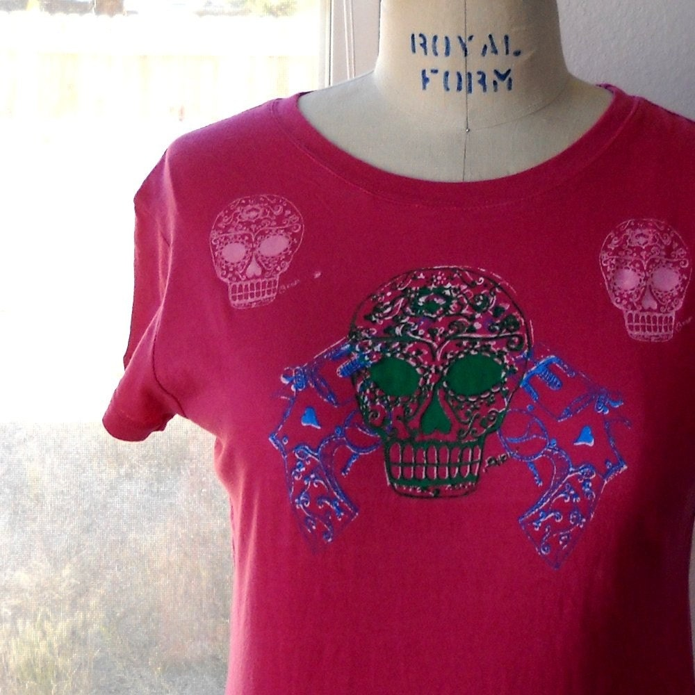 Sugar Skull and Revolvers tee shirt sz XL