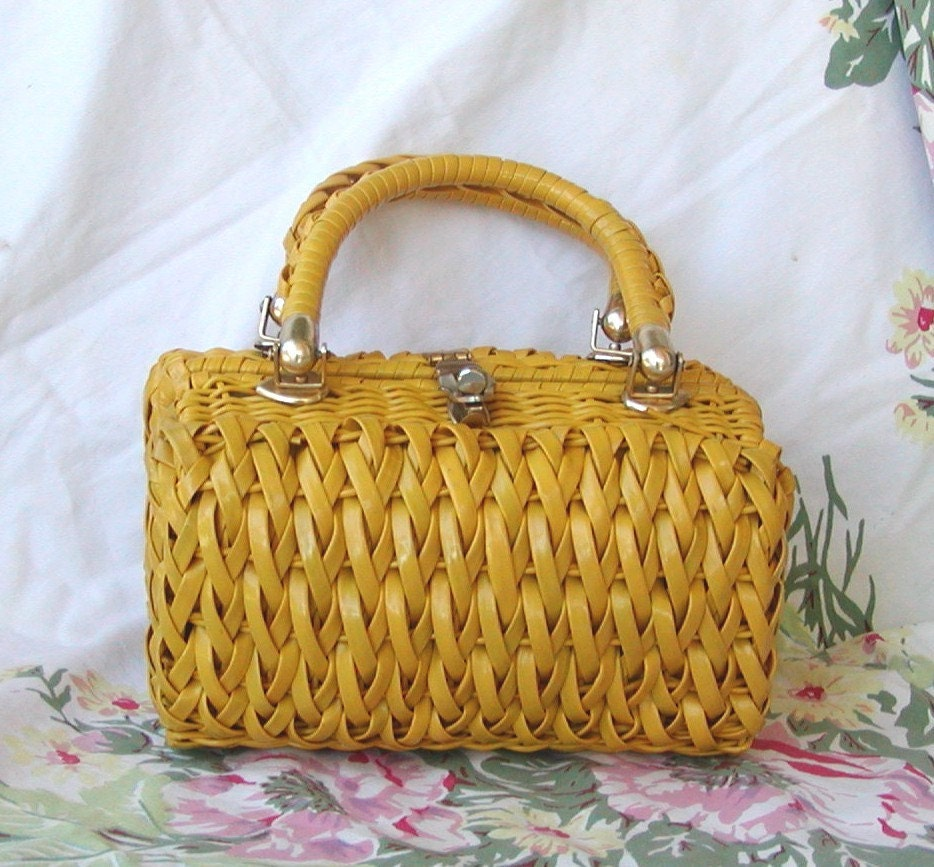 Vintage Yellow Woven Plastic Purse by Lesco Lona