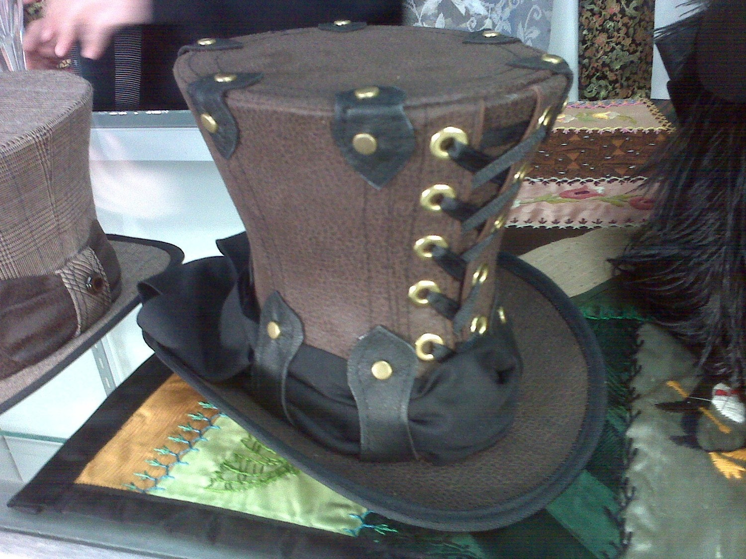 Lace-up Mini Top Hat Brown Faux Leather Totally Steampunk