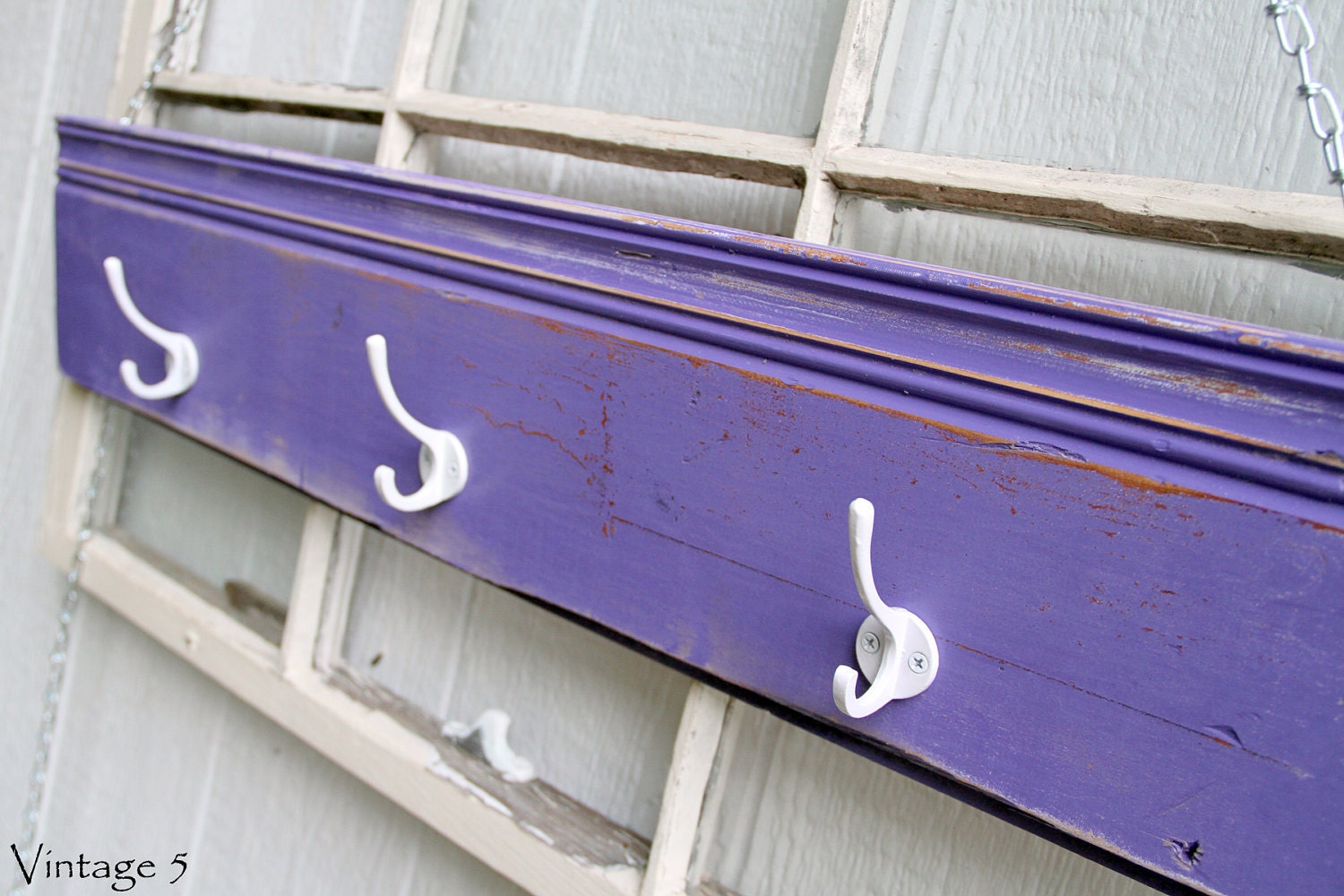 Reclaimed Purple Wood Wall Rack