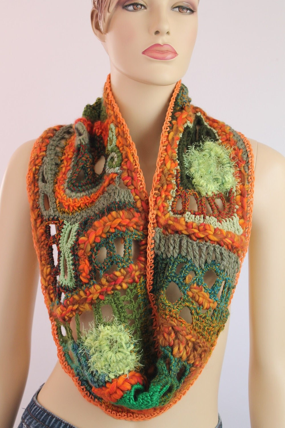 Crochet Chunky Multicolor Scarf  Cowl  Neck Warmer  Freeform Cowl Neck Scarves Crochet