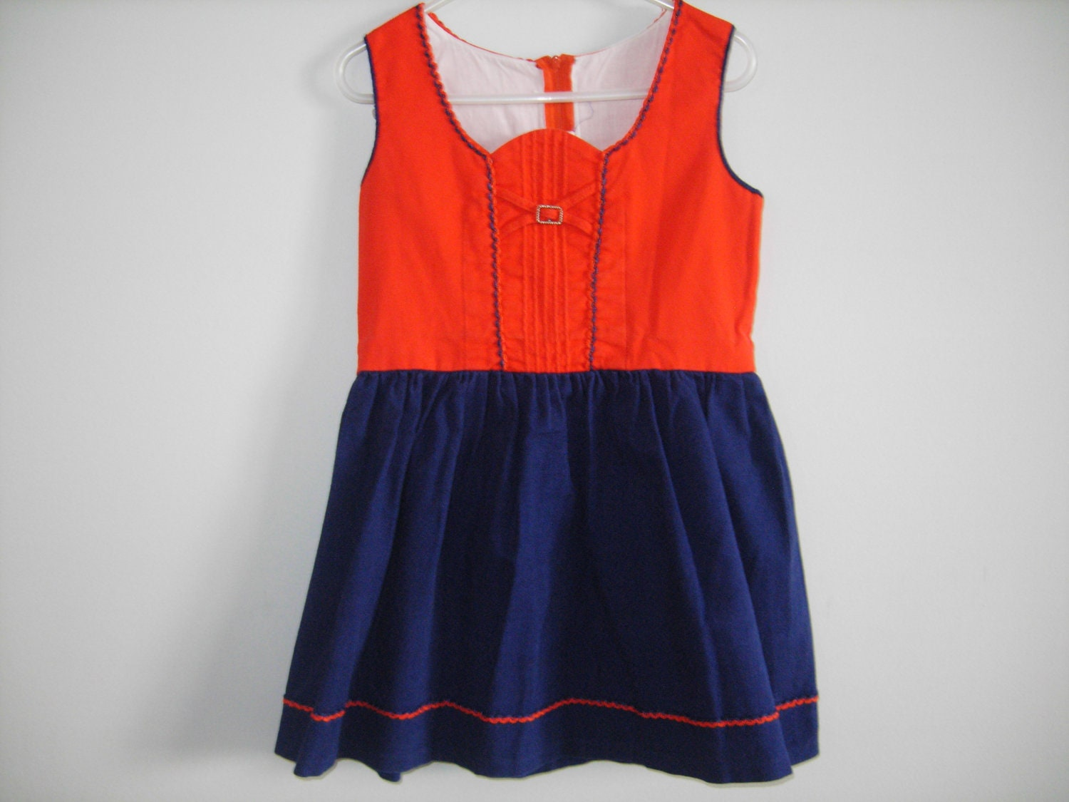 Folk Style Navy and Red Dress - Apearsvintagegoodies