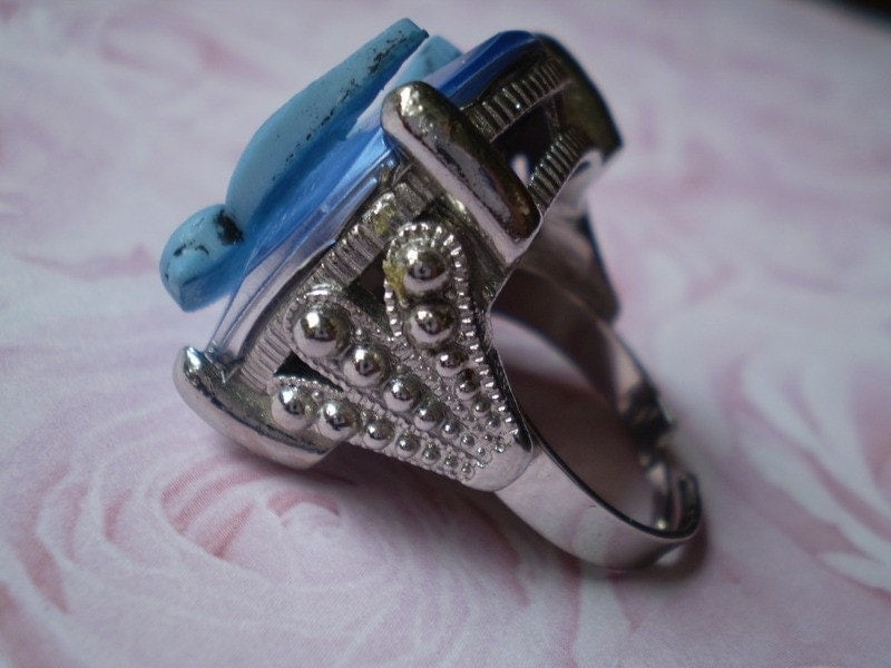 ring with blue tattoo flash art