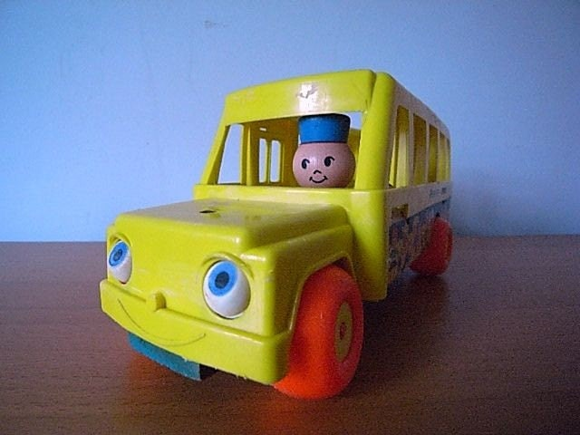 60s Vintage Fisher Price Wooden Pull Toy School Bus