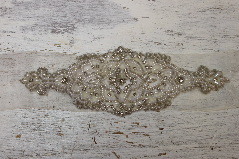 Jennifer Silver Crystal / Pearl Bridal Sash on Silk Ivory Organza, Wedding Sash, Crystal Sash, beaded wedding belt