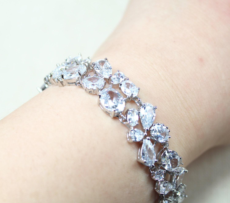 Wedding bracelet jewelry bridal bracelet clear cubic zirconia silver bracelet