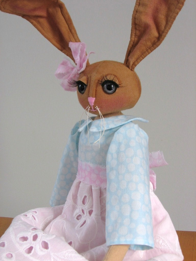 Primitive Folk Art Bunny Rabbit Doll Spring or Easter Soft Sculpture One of a Kind Art Spring Decor - DreamMakersDolls