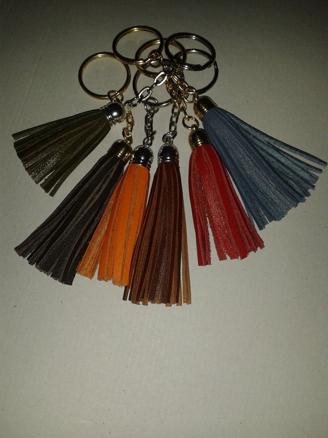 Handmade Leather Tassel Keyrings