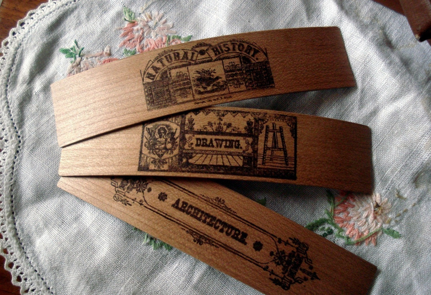 Wooden bookmark - subject headings