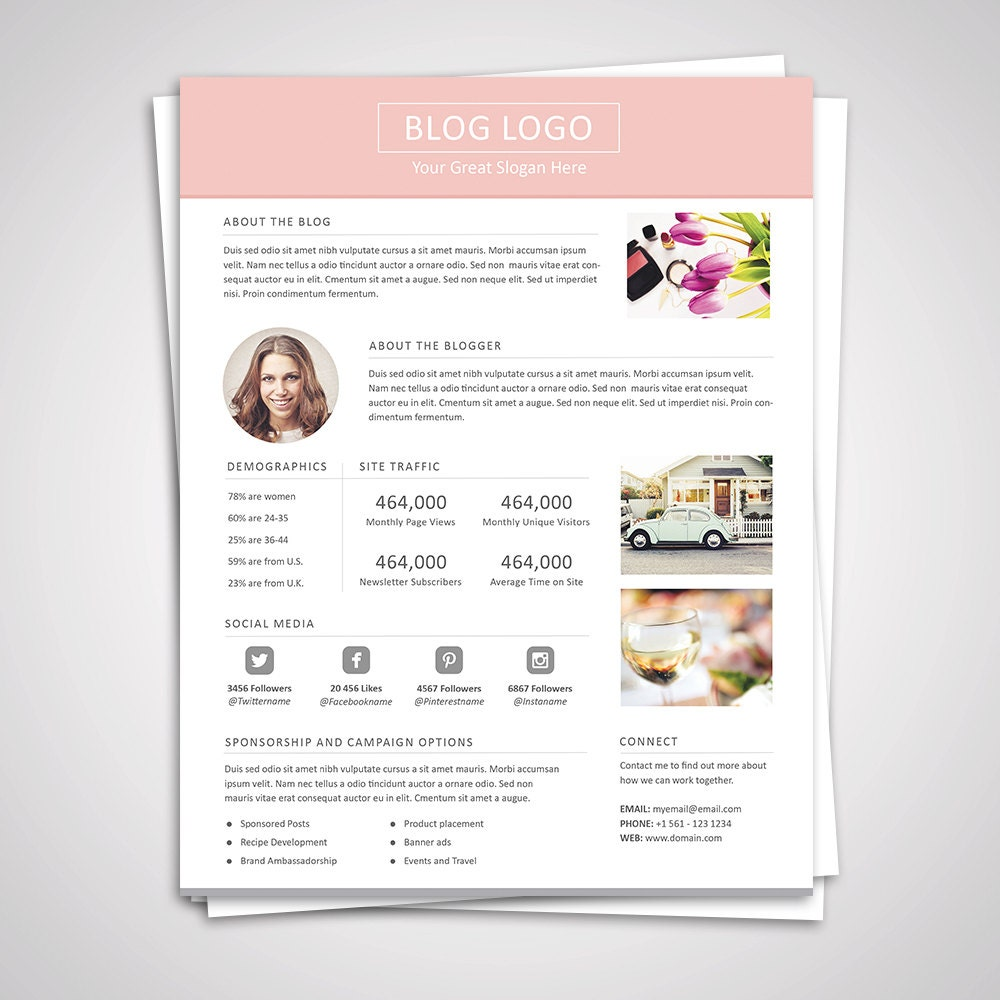 Blog Media Kit Template Press Kit Pitch Kit By Graphicadi