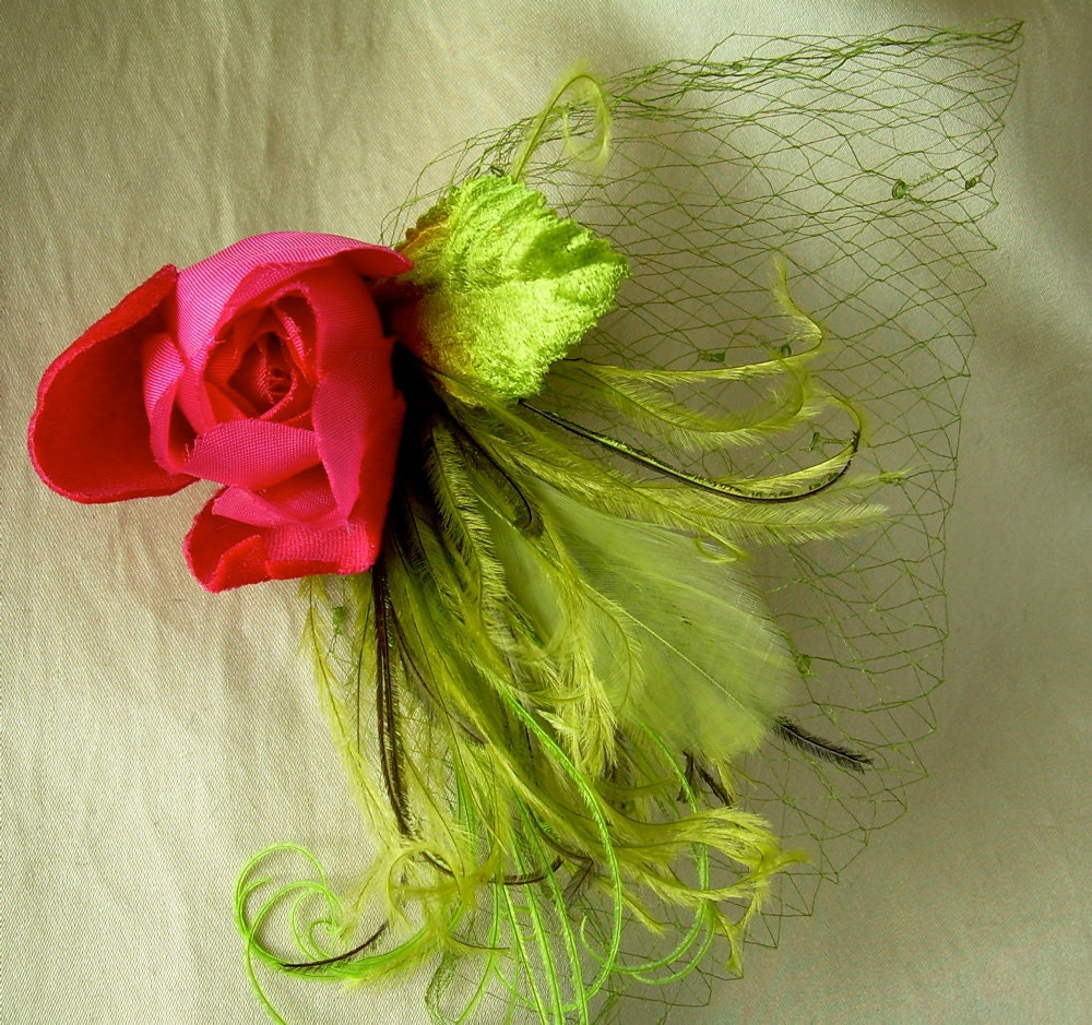 chartreuse and spring green fascinator with rare vintage chartreuse netting and dark pink vintage velvet rose - owllamode