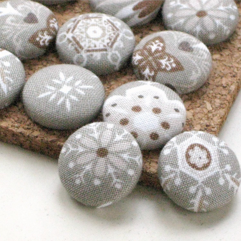 Flurries. . . Set of 16 Fabric Push pins. Snowflake Designer Thumbtacks. Holiday Gift - PaperPumpkin