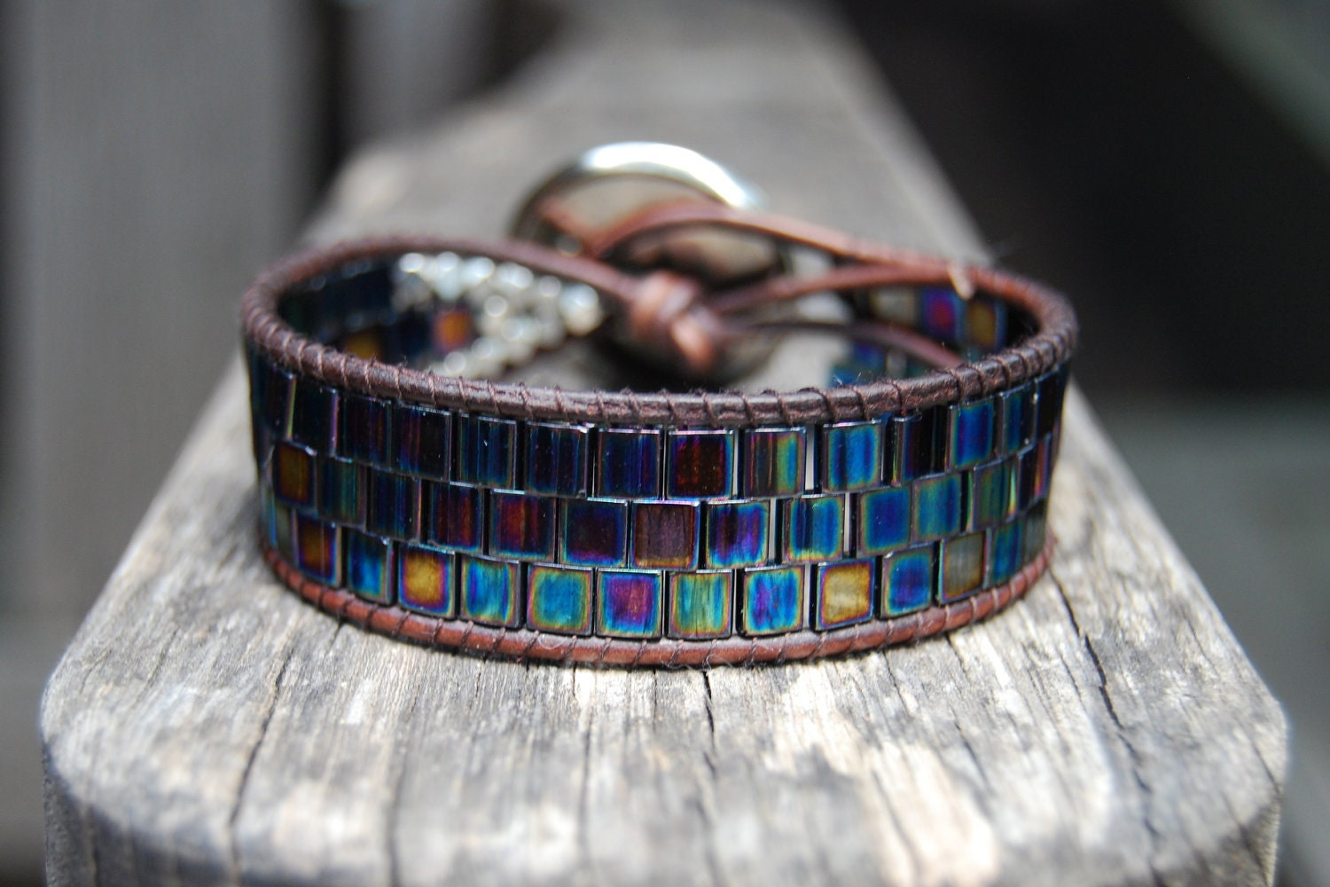 Wrapped Leather Bracelet with Metallic Blue / Purple / Turquoise Tila Beads, Silver Rondelles & Vintage Star Button - Shooting Star