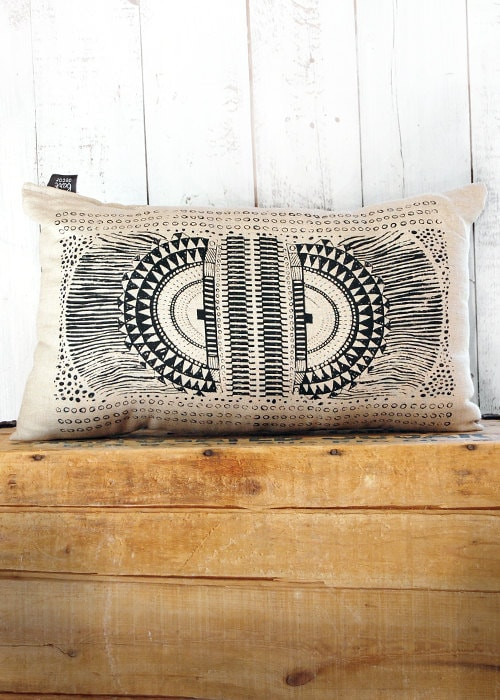 Okapi -  Black and Linen Hand Printed Native Tribal African Print Pillow - by Bark Decor - barkdecor