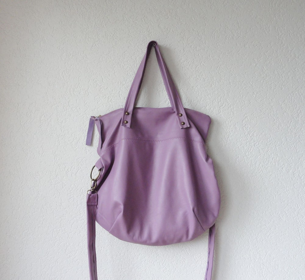 Leather Bag - Leather Hobo Bag - Leather Tote Bag with Folded Top  in Lavender Italian Leather - iragrant