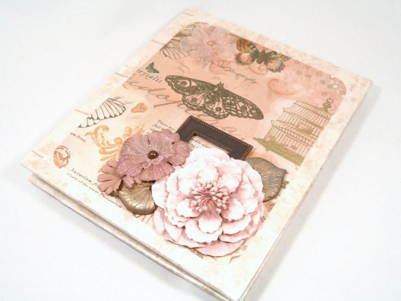 Shabby Chic Coptic Stitched Journal/ Mauve Pink/ Blank/ Victorian/ Handmade - SeamsVictorian