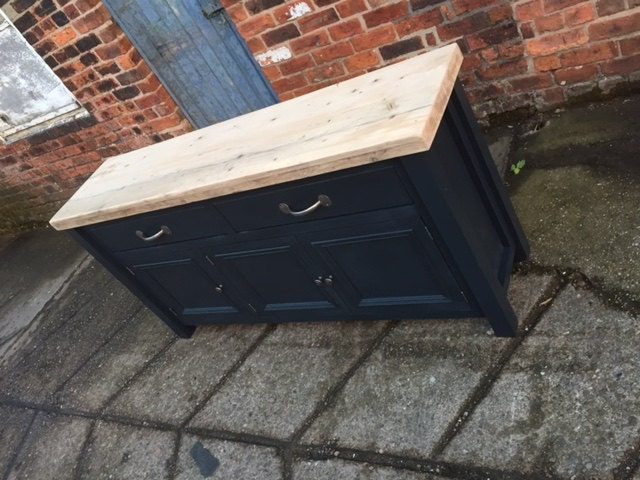 Large Shaker style reclaimed wood top sideboard. Drawer over cupboard side unit with thick top country kitchen farmhouse painted rustic