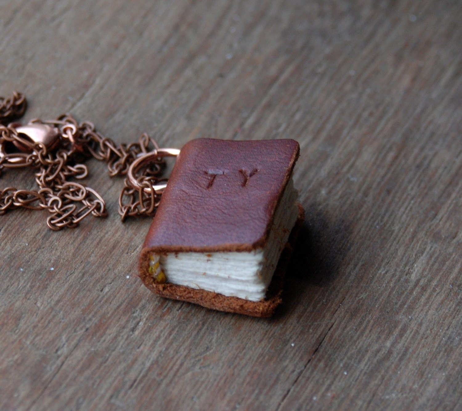 Medium Personalised word scrap leather journal necklace