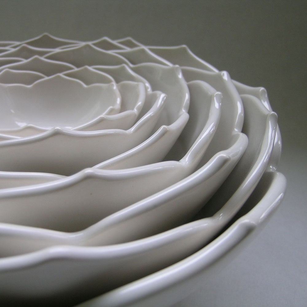 Eight Nesting Lotus Bowls in Milk White