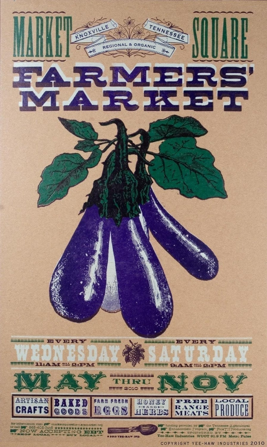 FARMERS MARKET EGGPLANT POSTER PRINT HAND PRINTED LETTERPRESS NEW FOR 2010
