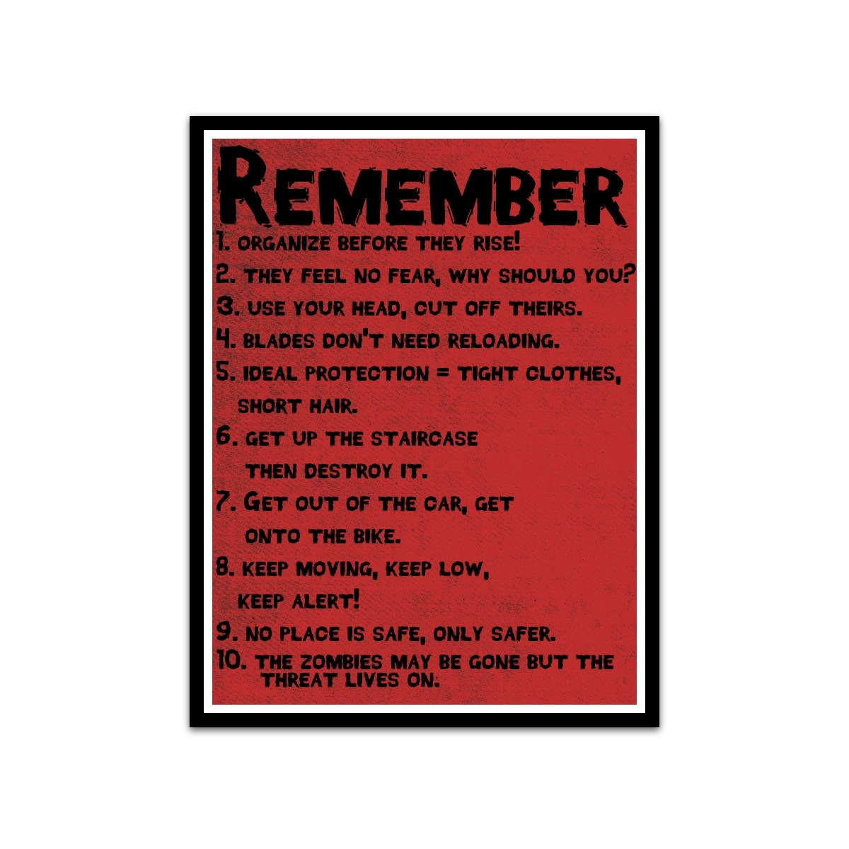 Zombie Survival Top Ten Rules Typography Poster By