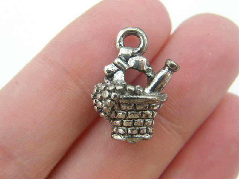 6 Fruit and wine basket charms tibetan silver FD42