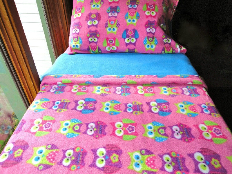 Childrens Bedding Set  'Pink Owls' for Girls Handmade Fleece Sheets Fits Crib and Toddler Beds