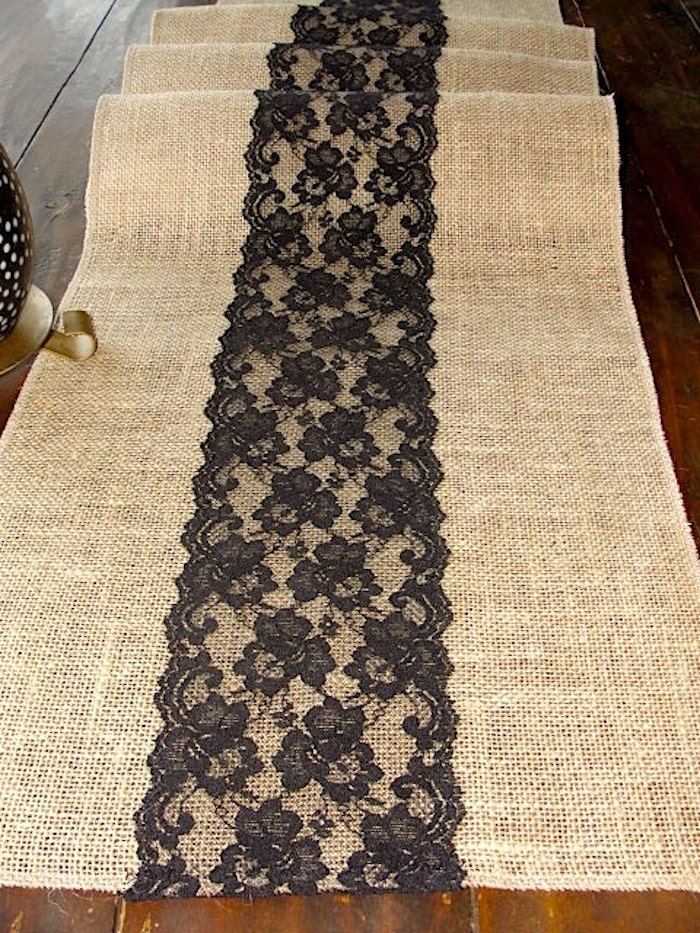 Burlap table runner with black lace rustic table runner handmade in