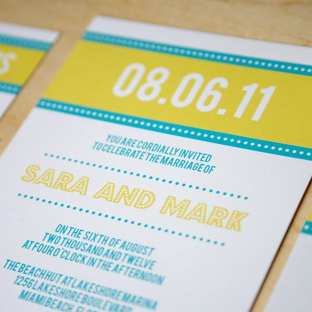 Bright Lights Wedding Invitations, Pool and Yellow Sample