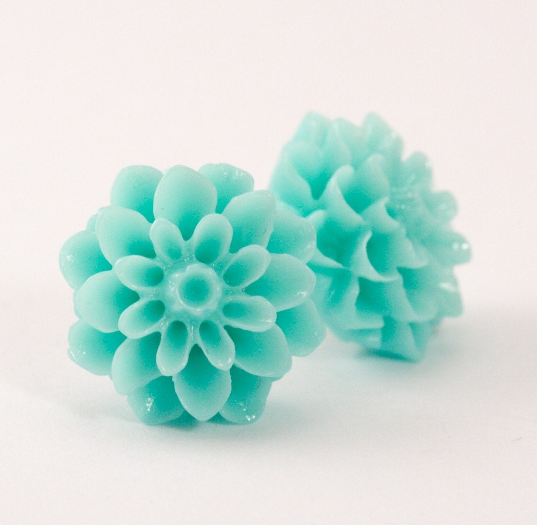 Pale Aqua Dahlia Flower Post Earrings