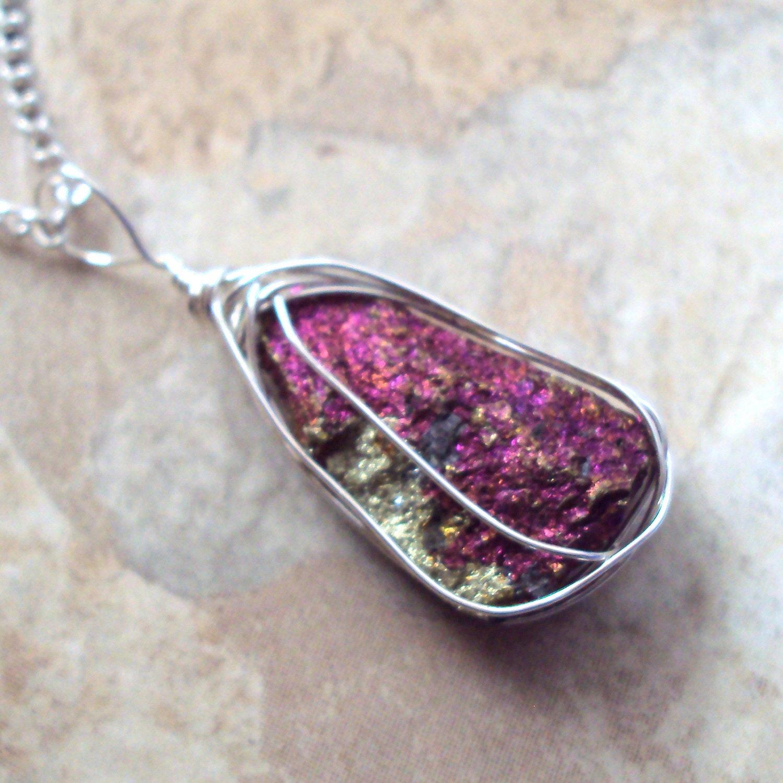 Peacock Ore Necklace Raw Stone Chalcopyrite Bornite by ...