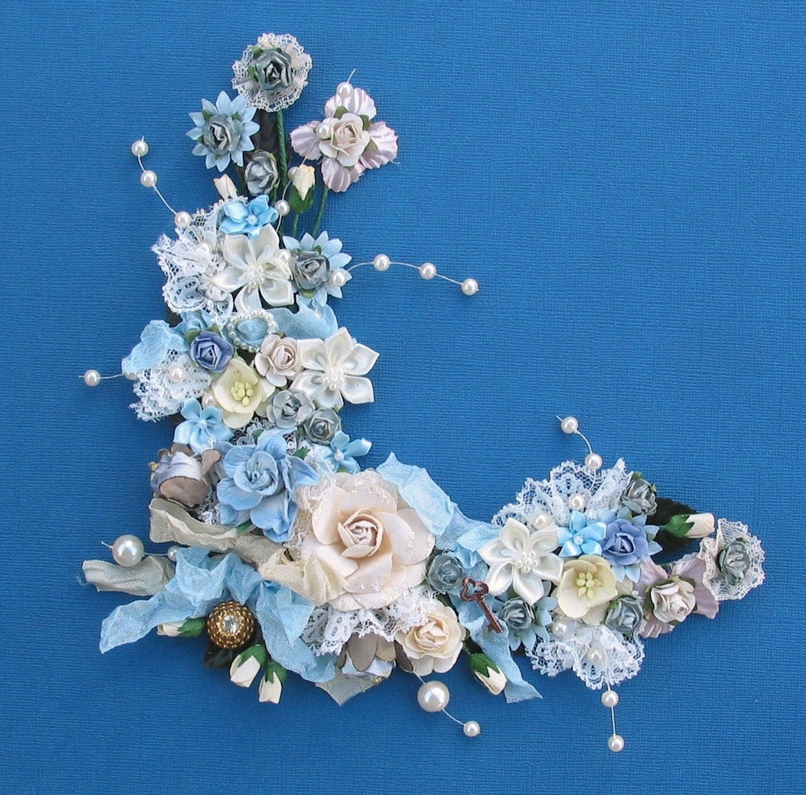 Blue Pearls and Lace Corner Bouquet for Scrapbooking