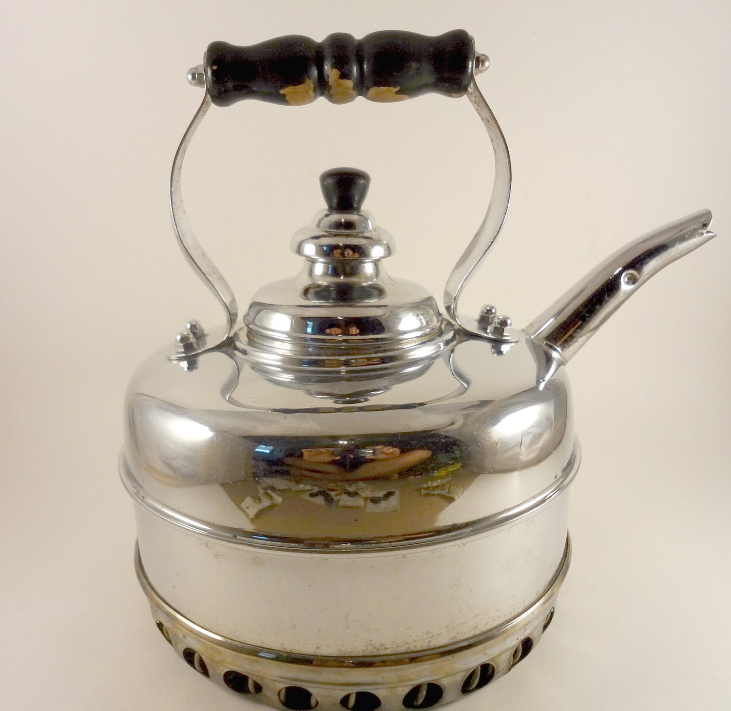 Vintage Simplex Chrome Whistling Tea Kettle Made In By