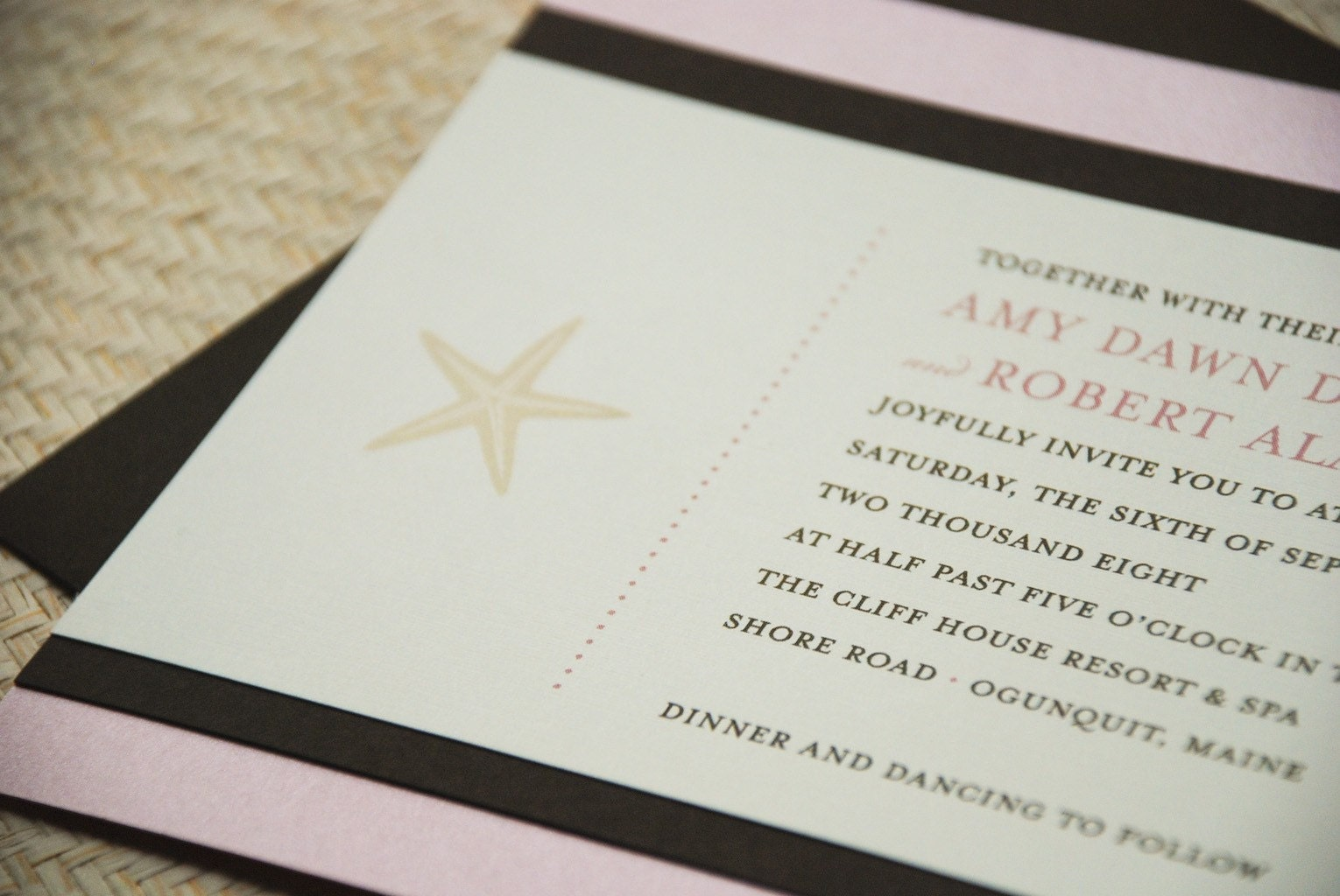 Deposit - Brown and Shimmer Pink Starfish Wedding Invitation