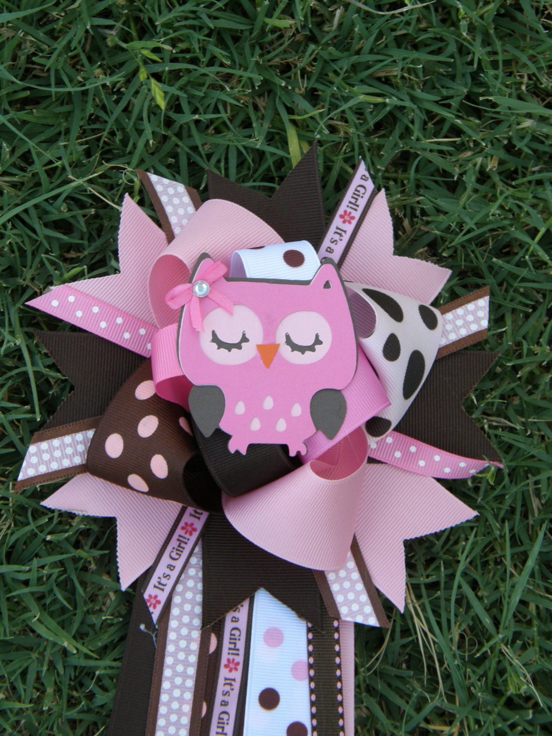 owl baby shower theme baby shower mum corsage by bonbow on etsy