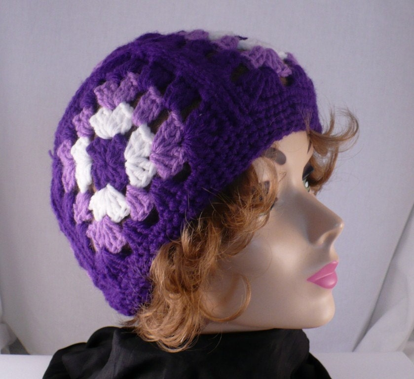 60's Vintage Purple Hand Crocheted  Granny Squares Winter Skull Cap Hat 1960's