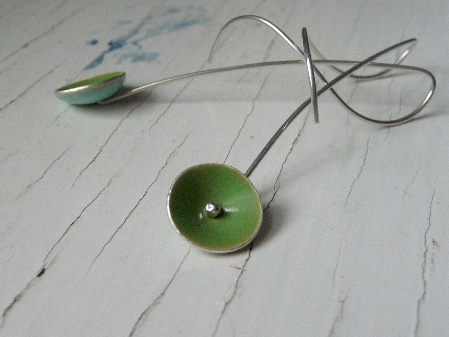enameled poppy earrings