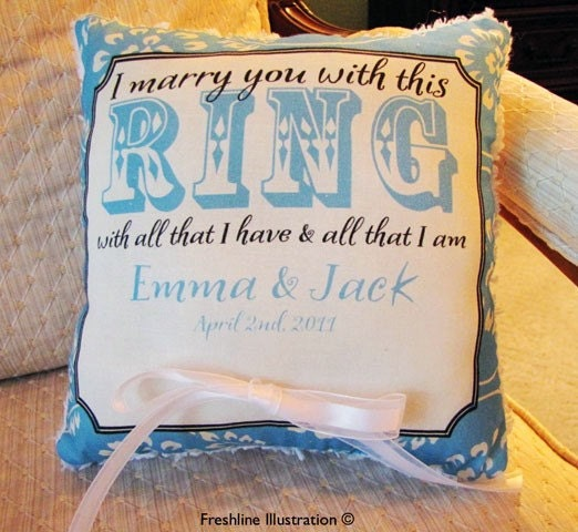 Custom Wedding Ring Bearer Pillow with Vows Sentiment and Monogram Names Date in Your Wedding Color Scheme