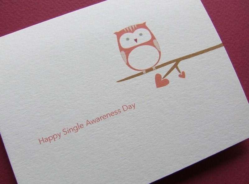 picture of Happy Single Awareness Day card on Etsy, by nouveaudesigns