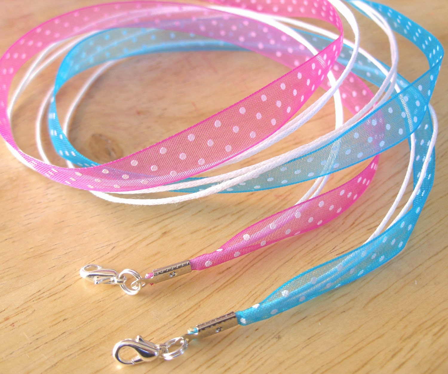 12 - Polka Dot Organza Cord Necklaces - 8 Colors, Any length, Fits Scrabble/Glass Tile Pendants - Handmade in USA