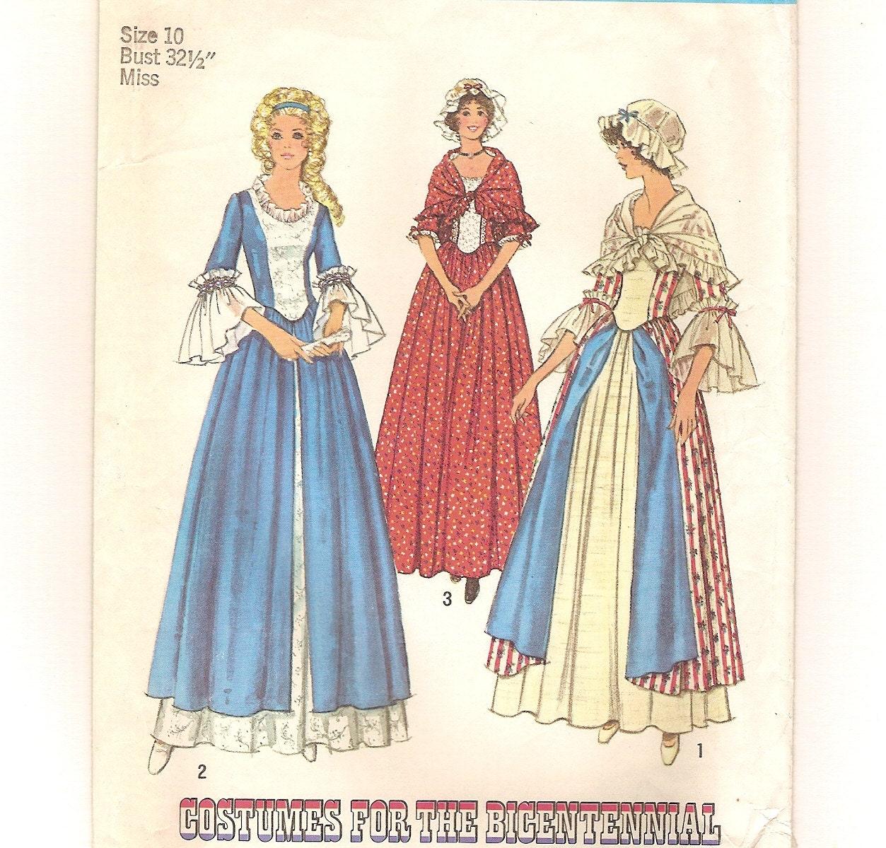 Vintage 70s colonial dress cap shawl pattern simplicity 6787 pioneer