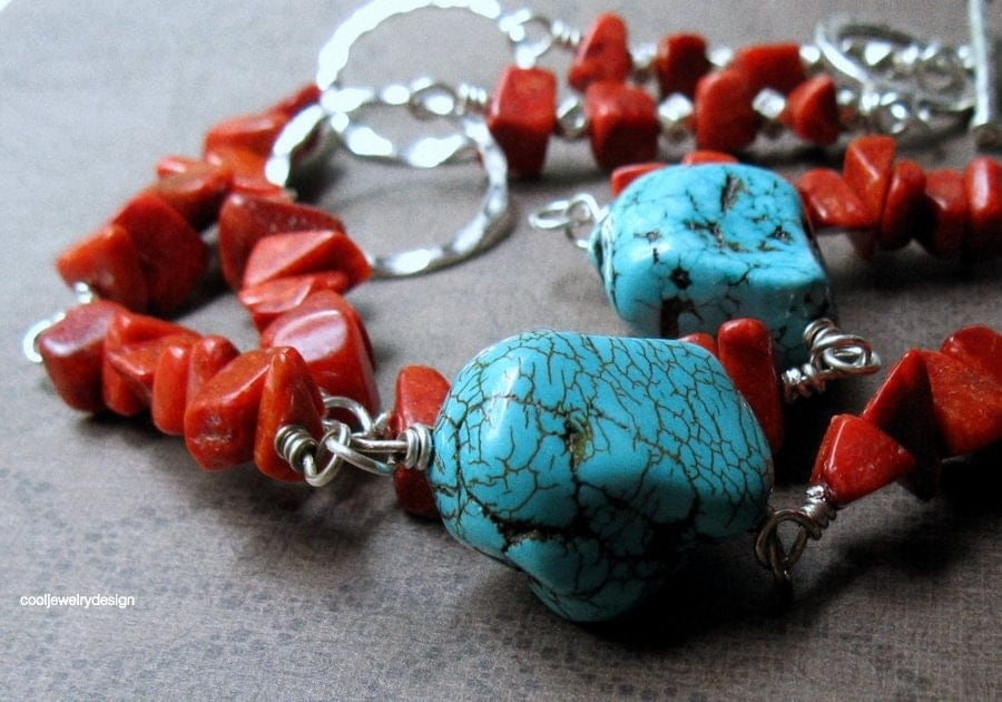 SALE turquoise coral wrapped silver necklace by cooljewelrydesign necklace
