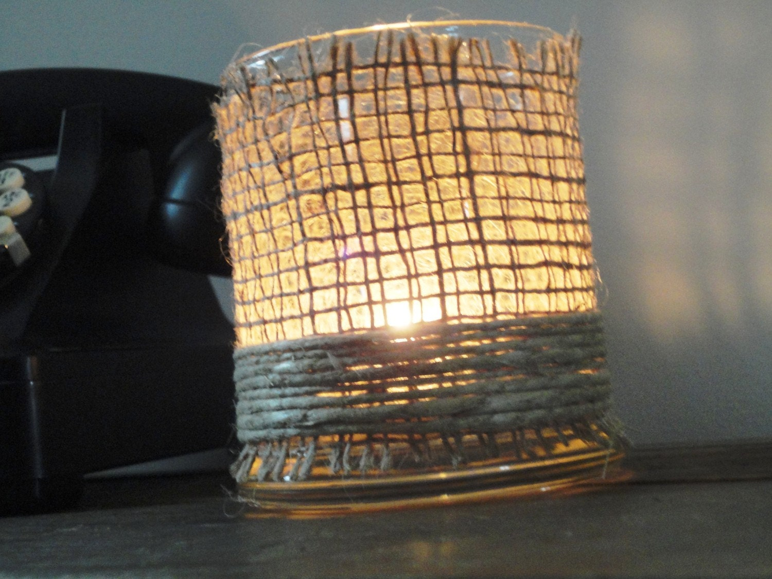 Hemp and Burlap Wrapped Candle Holder: Rustic Chic Warmth & Charm