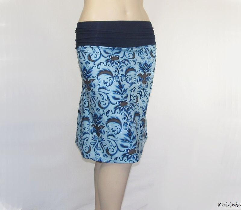 *Kobieta SALE* Plus Size A-Line Skirt-Blue Amy Butler Cotton Print- Size XL- XXL- Womens 18-22