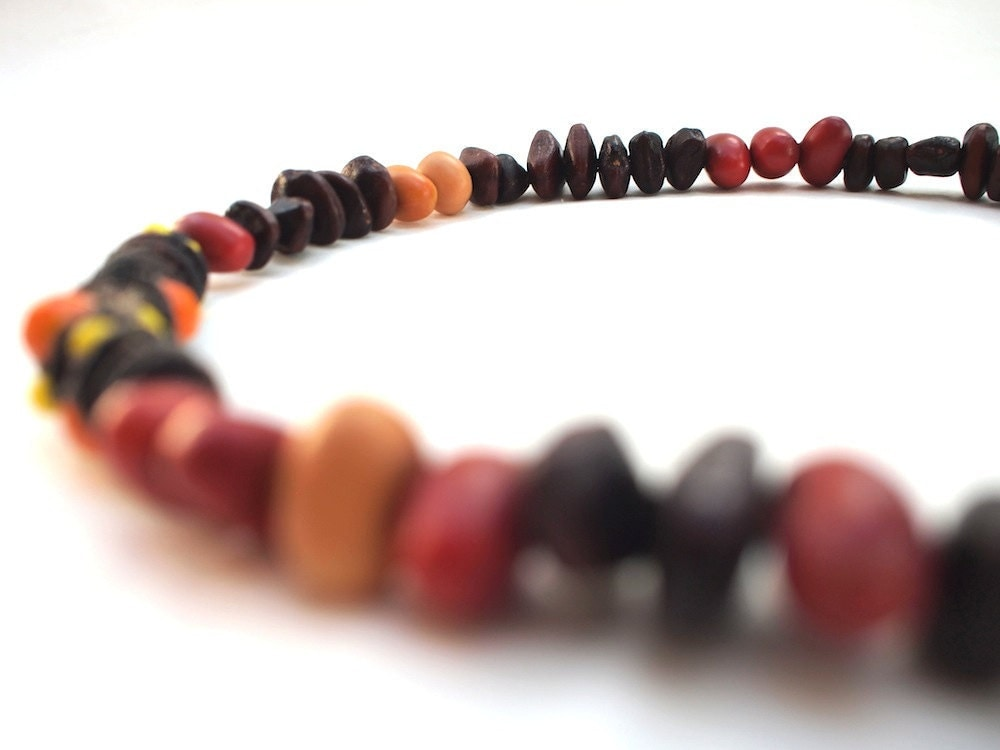 Wild Harvest - Sparkly y Earthy - Macrame, Swarovski Crystal Beads, Tamarind Seeds & Southwestern Coral Beans - newtribetextiles